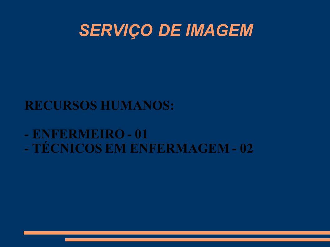 SERVIÇO DE IMAGEM RECURSOS HUMANOS: - ENFERMEIRO - 01 - TÉCNICOS EM ENFERMAGEM - 02