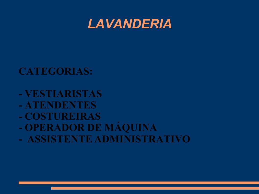 LAVANDERIA CATEGORIAS: - VESTIARISTAS - ATENDENTES - COSTUREIRAS - OPERADOR DE MÁQUINA - ASSISTENTE ADMINISTRATIVO