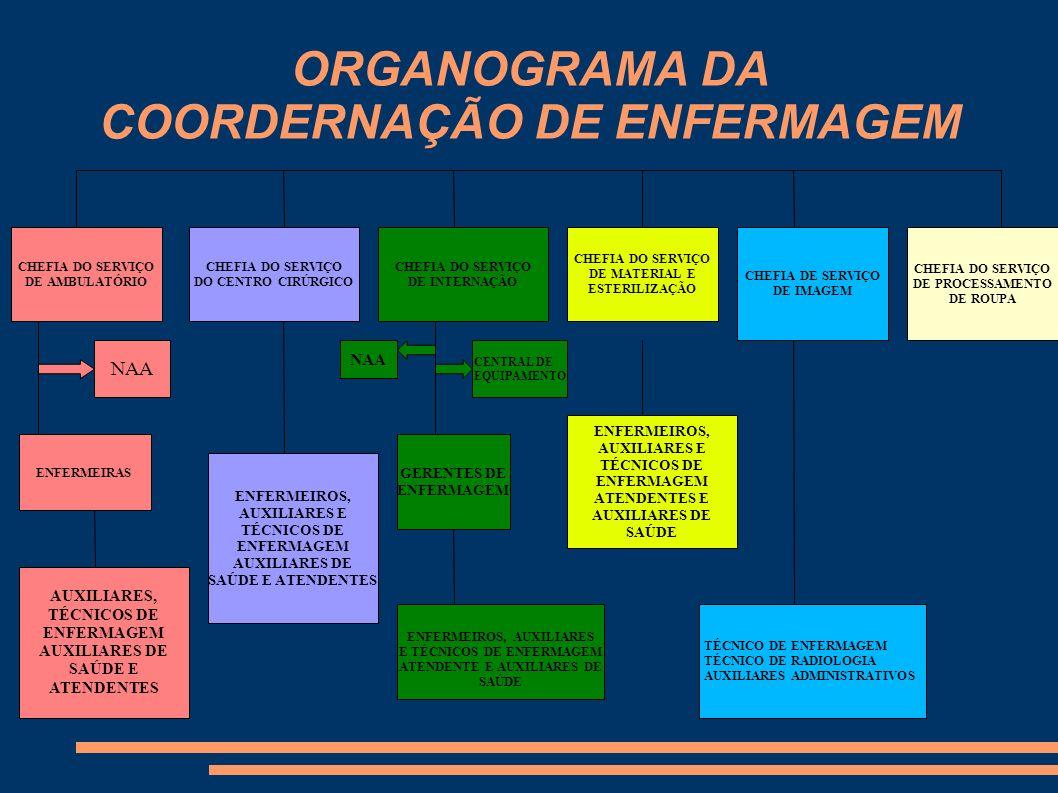 ORGANOGRAMA DA COORDERNAÇÃO DE ENFERMAGEM CHEFIA DO SERVIÇO DE AMBULATÓRIO CHEFIA DO SERVIÇO DO CENTRO CIRÚRGICO CHEFIA DO SERVIÇO DE INTERNAÇÃO CHEFI