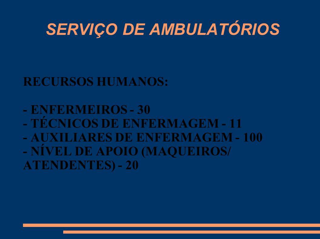 SERVIÇO DE AMBULATÓRIOS RECURSOS HUMANOS: - ENFERMEIROS - 30 - TÉCNICOS DE ENFERMAGEM - 11 - AUXILIARES DE ENFERMAGEM - 100 - NÍVEL DE APOIO (MAQUEIRO