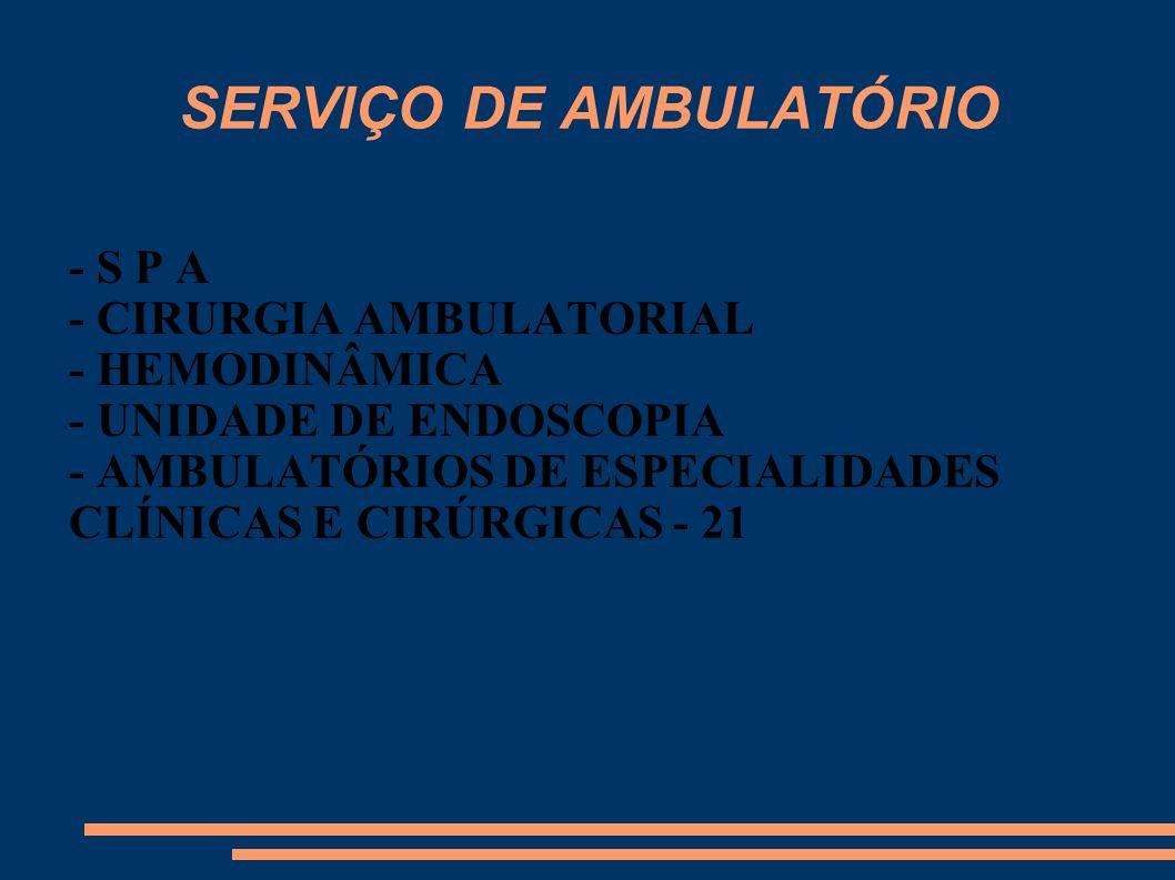 SERVIÇO DE AMBULATÓRIO - S P A - CIRURGIA AMBULATORIAL - HEMODINÂMICA - UNIDADE DE ENDOSCOPIA - AMBULATÓRIOS DE ESPECIALIDADES CLÍNICAS E CIRÚRGICAS -