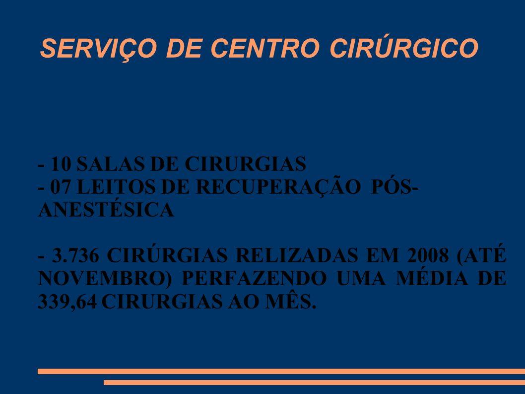 SERVIÇO DE CENTRO CIRÚRGICO - 10 SALAS DE CIRURGIAS - 07 LEITOS DE RECUPERAÇÃO PÓS- ANESTÉSICA - 3.736 CIRÚRGIAS RELIZADAS EM 2008 (ATÉ NOVEMBRO) PERF