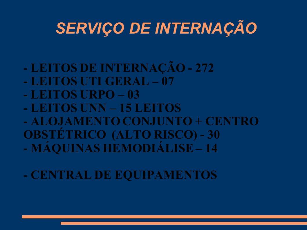 SERVIÇO DE INTERNAÇÃO - LEITOS DE INTERNAÇÃO - 272 - LEITOS UTI GERAL – 07 - LEITOS URPO – 03 - LEITOS UNN – 15 LEITOS - ALOJAMENTO CONJUNTO + CENTRO