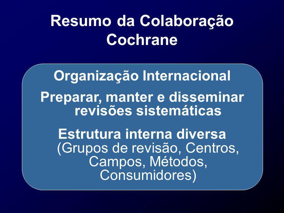 Resumo da Colaboração Cochrane Organização Internacional Preparar, manter e disseminar revisões sistemáticas Estrutura interna diversa (Grupos de revi