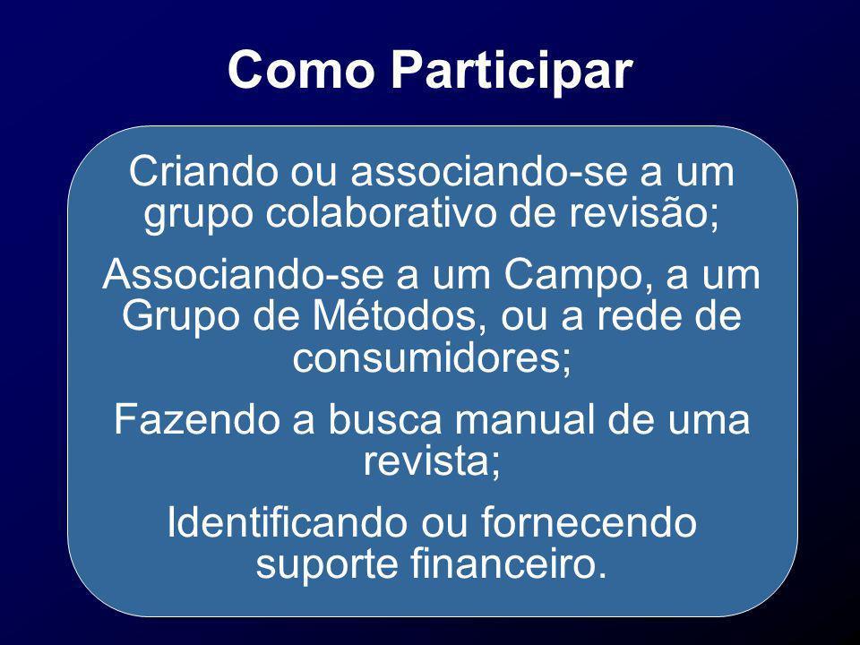 Como Participar Criando ou associando-se a um grupo colaborativo de revisão; Associando-se a um Campo, a um Grupo de Métodos, ou a rede de consumidore