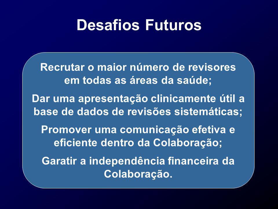 Desafios Futuros Recrutar o maior número de revisores em todas as áreas da saúde; Dar uma apresentação clinicamente útil a base de dados de revisões s