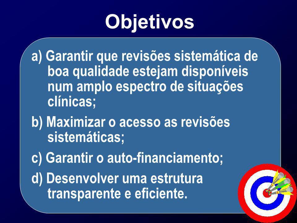 a) Garantir que revisões sistemática de boa qualidade estejam disponíveis num amplo espectro de situações clínicas; b) Maximizar o acesso as revisões