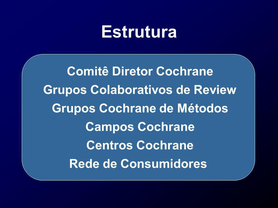 A Colaboração Cochrane Review Groups Fields Consumer Network Centres Methods Groups Steering Committee