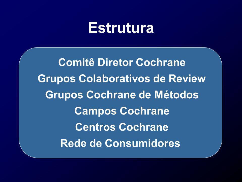 Estrutura Comitê Diretor Cochrane Grupos Colaborativos de Review Grupos Cochrane de Métodos Campos Cochrane Centros Cochrane Rede de Consumidores