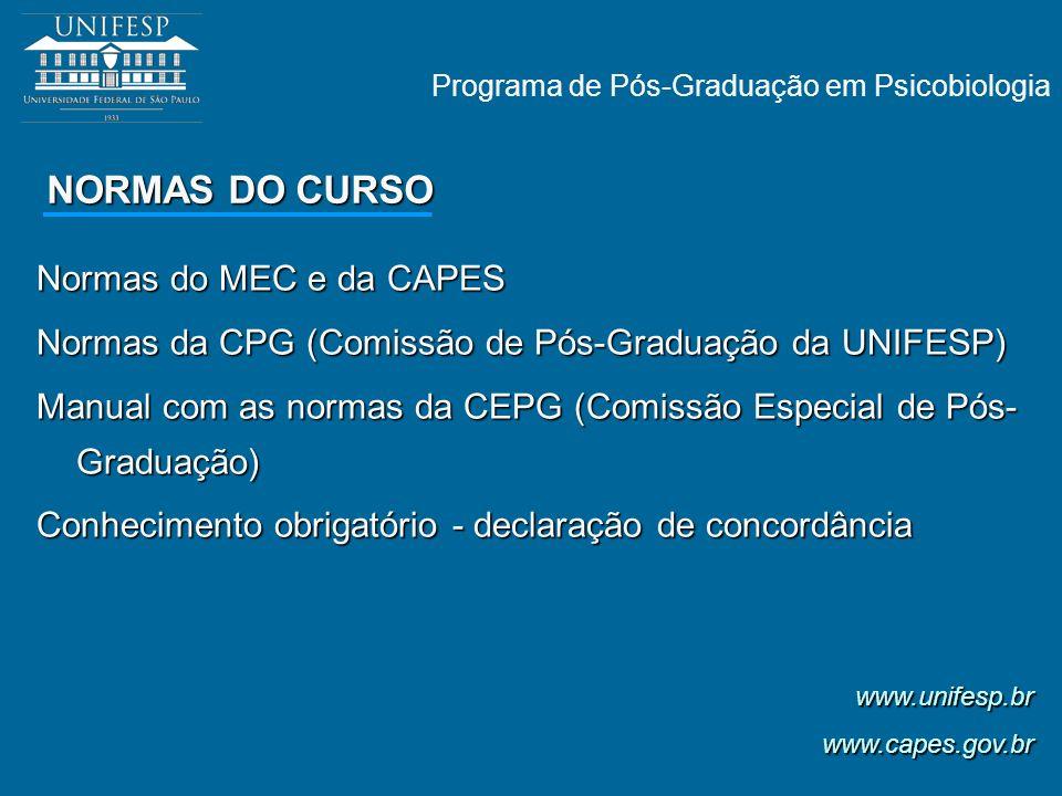 NORMAS DO CURSO Normas do MEC e da CAPES Normas da CPG (Comissão de Pós-Graduação da UNIFESP) Manual com as normas da CEPG (Comissão Especial de Pós-