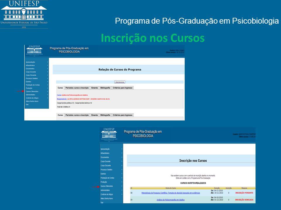 Programa de Pós-Graduação em Psicobiologia Inscrição nos Cursos