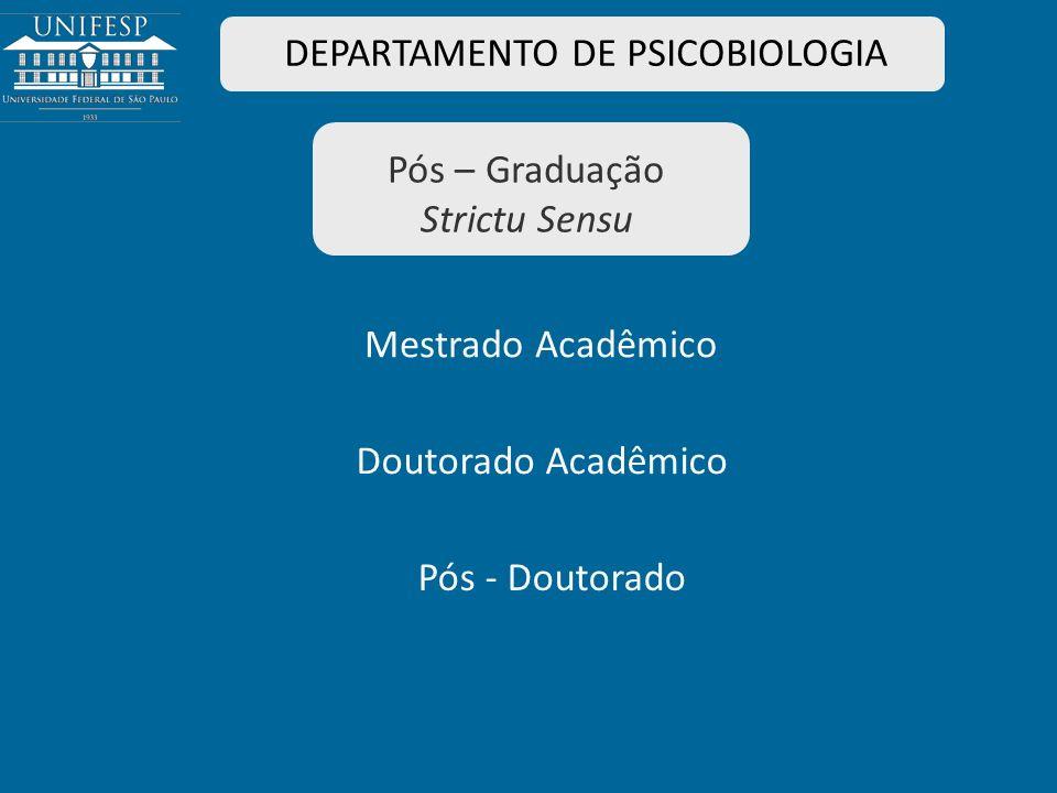 Pós – Graduação Strictu Sensu DEPARTAMENTO DE PSICOBIOLOGIA Mestrado Acadêmico Doutorado Acadêmico Pós - Doutorado