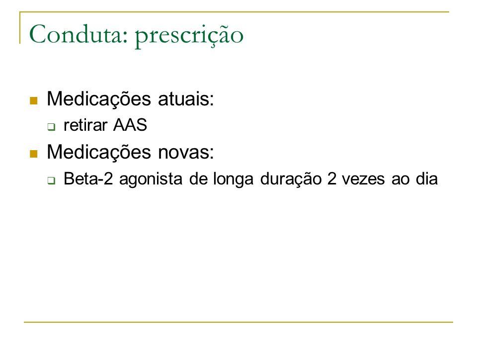 Conduta: prescrição Medicações atuais: retirar AAS Medicações novas: Beta-2 agonista de longa duração 2 vezes ao dia