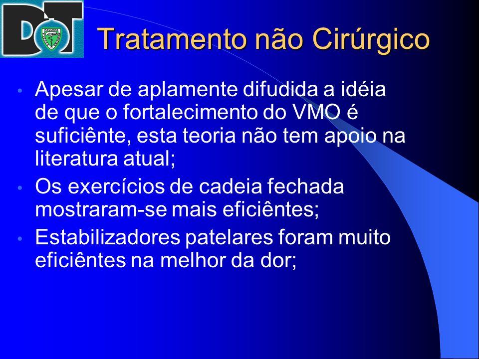 Tratamento não Cirúrgico Apesar de aplamente difudida a idéia de que o fortalecimento do VMO é suficiênte, esta teoria não tem apoio na literatura atu