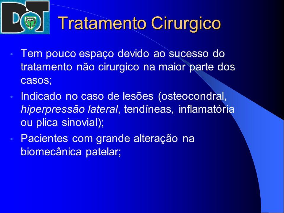 Tratamento Cirurgico Tem pouco espaço devido ao sucesso do tratamento não cirurgico na maior parte dos casos; Indicado no caso de lesões (osteocondral