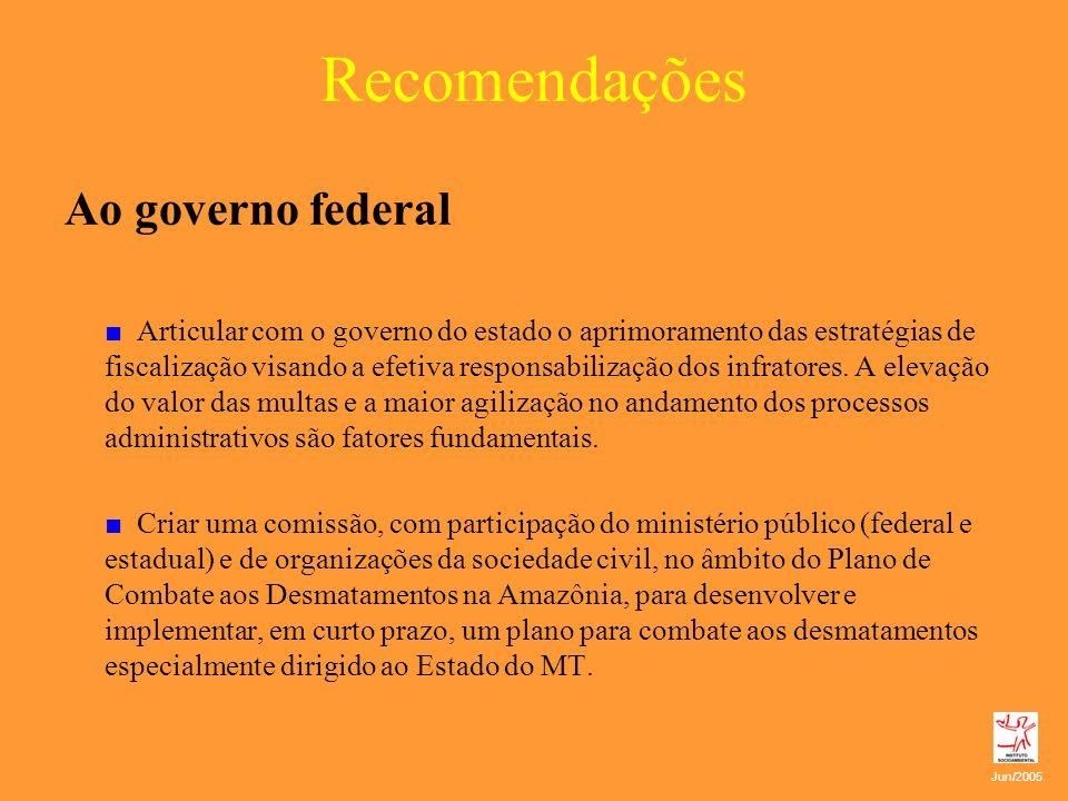 Recomendações Ao governo federal Articular com o governo do estado o aprimoramento das estratégias de fiscalização visando a efetiva responsabilização