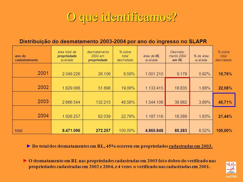 O que identificamos? Distribuição do desmatamento 2003-2004 por ano do ingresso no SLAPR ano do cadastramento área total de propriedade avaliada desma