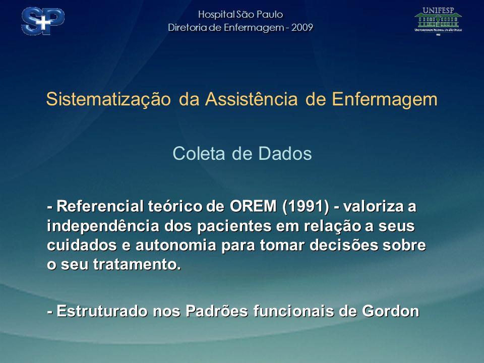 Hospital São Paulo Diretoria de Enfermagem - 2009 Hospital São Paulo Diretoria de Enfermagem - 2009 Sistematização da Assistência de Enfermagem Coleta de Dados - Referencial teórico de OREM (1991) - valoriza a independência dos pacientes em relação a seus cuidados e autonomia para tomar decisões sobre o seu tratamento.