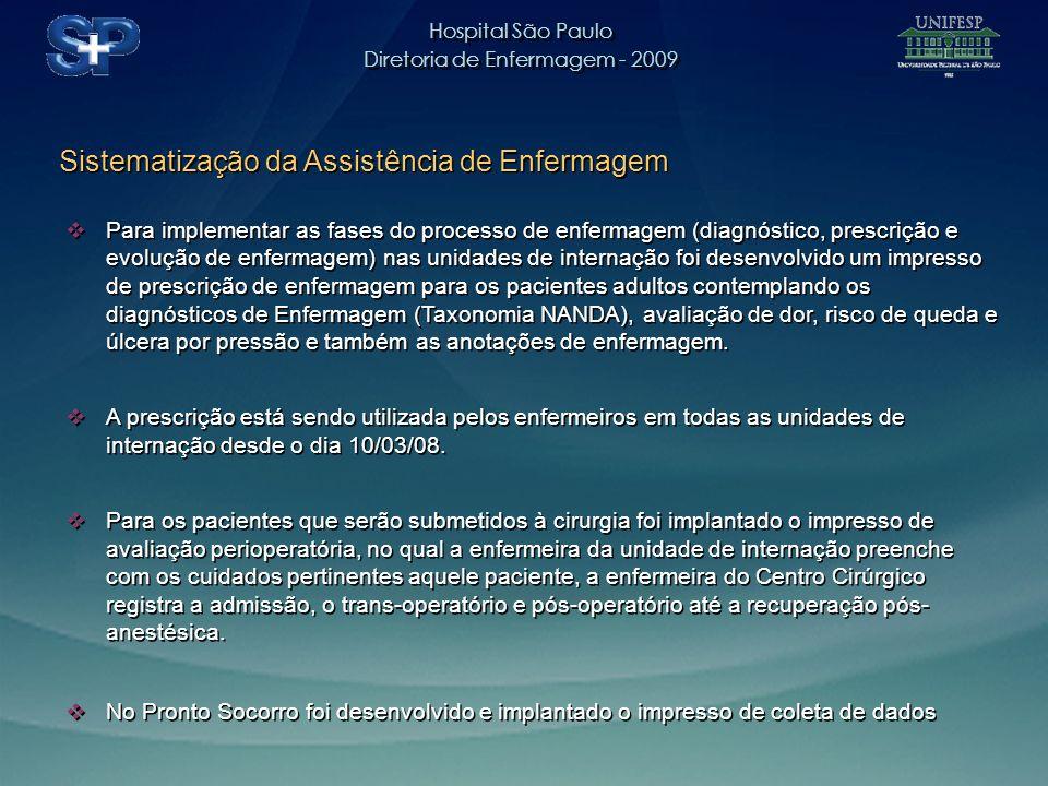 Hospital São Paulo Diretoria de Enfermagem - 2009 Hospital São Paulo Diretoria de Enfermagem - 2009 Sistematização da Assistência de Enfermagem Para implementar as fases do processo de enfermagem (diagnóstico, prescrição e evolução de enfermagem) nas unidades de internação foi desenvolvido um impresso de prescrição de enfermagem para os pacientes adultos contemplando os diagnósticos de Enfermagem (Taxonomia NANDA), avaliação de dor, risco de queda e úlcera por pressão e também as anotações de enfermagem.