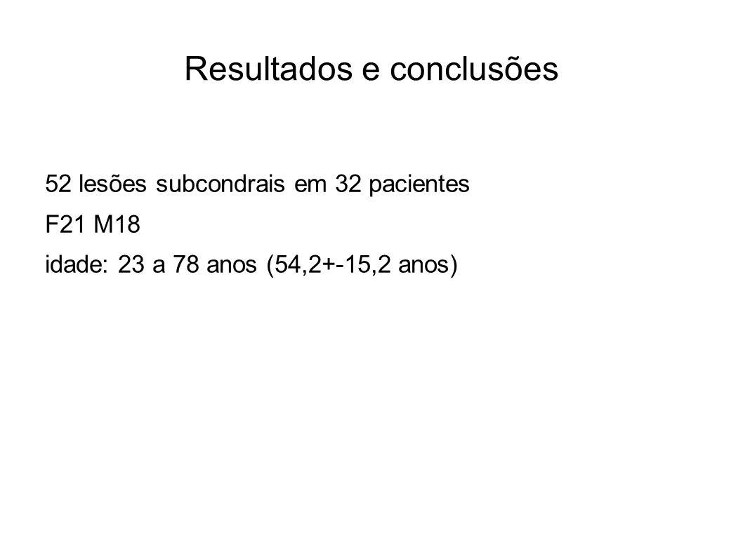 Resultados e conclusões 52 lesões subcondrais em 32 pacientes F21 M18 idade: 23 a 78 anos (54,2+-15,2 anos)