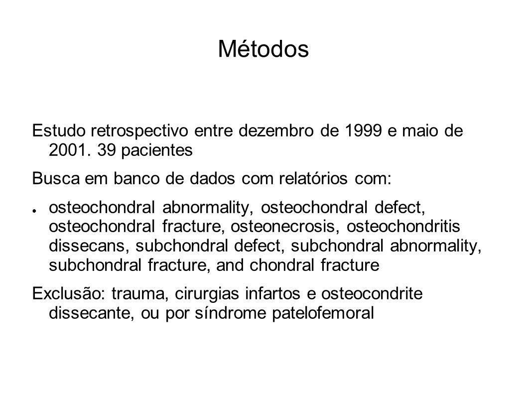 Métodos Estudo retrospectivo entre dezembro de 1999 e maio de 2001. 39 pacientes Busca em banco de dados com relatórios com: osteochondral abnormality