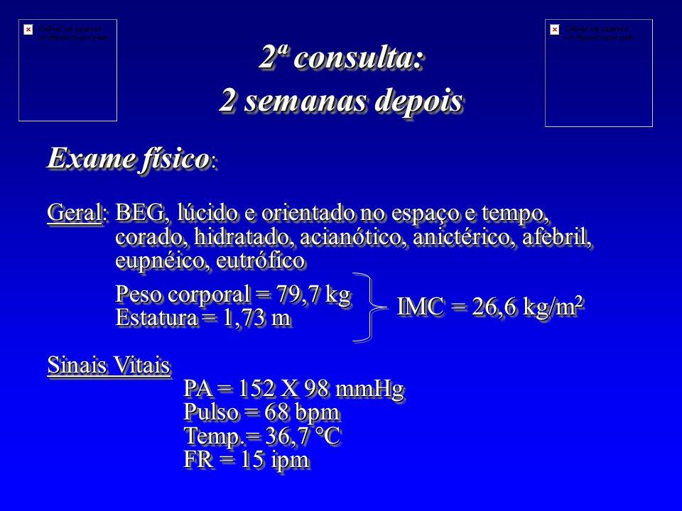 2ª consulta: 2 semanas depois Exame físico : Geral: BEG, lúcido e orientado no espaço e tempo, corado, hidratado, acianótico, anictérico, afebril, eupnéico, eutrófico Peso corporal = 79,7 kg Estatura = 1,73 m Sinais Vitais PA = 152 X 98 mmHg Pulso = 68 bpm Temp.= 36,7 °C FR = 15 ipm Exame físico : Geral: BEG, lúcido e orientado no espaço e tempo, corado, hidratado, acianótico, anictérico, afebril, eupnéico, eutrófico Peso corporal = 79,7 kg Estatura = 1,73 m Sinais Vitais PA = 152 X 98 mmHg Pulso = 68 bpm Temp.= 36,7 °C FR = 15 ipm IMC = 26,6 kg/m 2