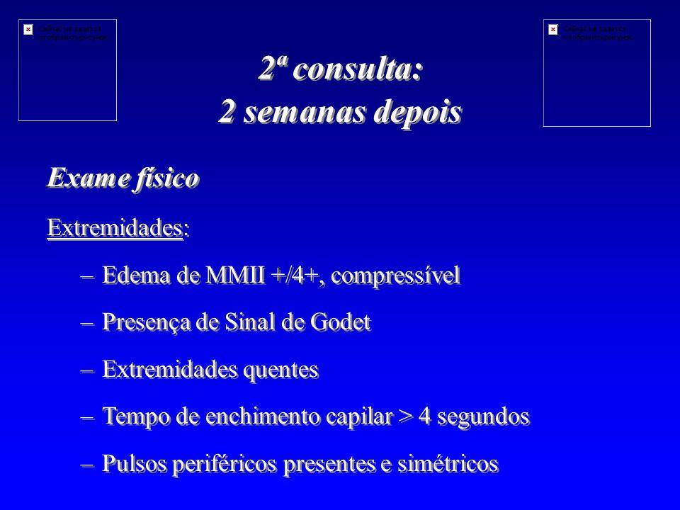 Exame físico Extremidades: – –Edema de MMII +/4+, compressível – –Presença de Sinal de Godet – –Extremidades quentes – –Tempo de enchimento capilar > 4 segundos – –Pulsos periféricos presentes e simétricos Exame físico Extremidades: – –Edema de MMII +/4+, compressível – –Presença de Sinal de Godet – –Extremidades quentes – –Tempo de enchimento capilar > 4 segundos – –Pulsos periféricos presentes e simétricos 2ª consulta: 2 semanas depois