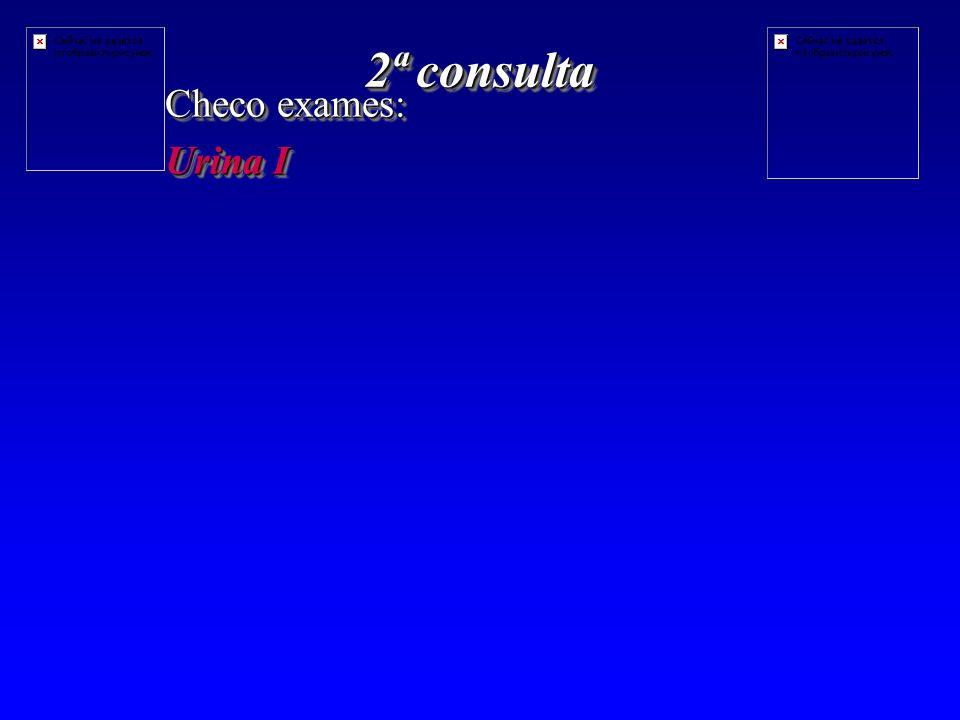 2ª consulta Checo exames: Urina I Checo exames: Urina I