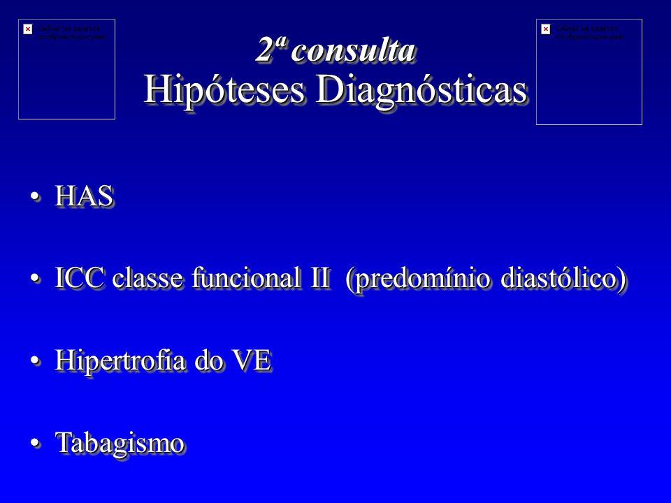 Hipóteses Diagnósticas HASHAS ICC classe funcional II (predomínio diastólico)ICC classe funcional II (predomínio diastólico) Hipertrofia do VEHipertrofia do VE TabagismoTabagismo HASHAS ICC classe funcional II (predomínio diastólico)ICC classe funcional II (predomínio diastólico) Hipertrofia do VEHipertrofia do VE TabagismoTabagismo 2ª consulta