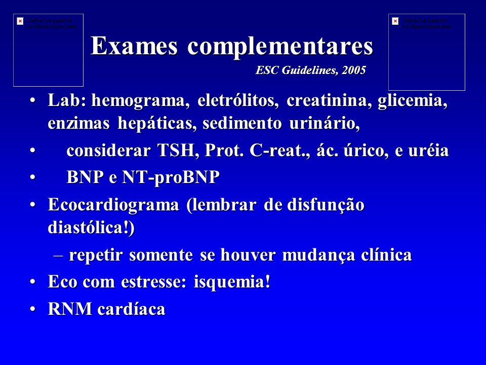 Lab: hemograma, eletrólitos, creatinina, glicemia, enzimas hepáticas, sedimento urinário,Lab: hemograma, eletrólitos, creatinina, glicemia, enzimas hepáticas, sedimento urinário, considerar TSH, Prot.
