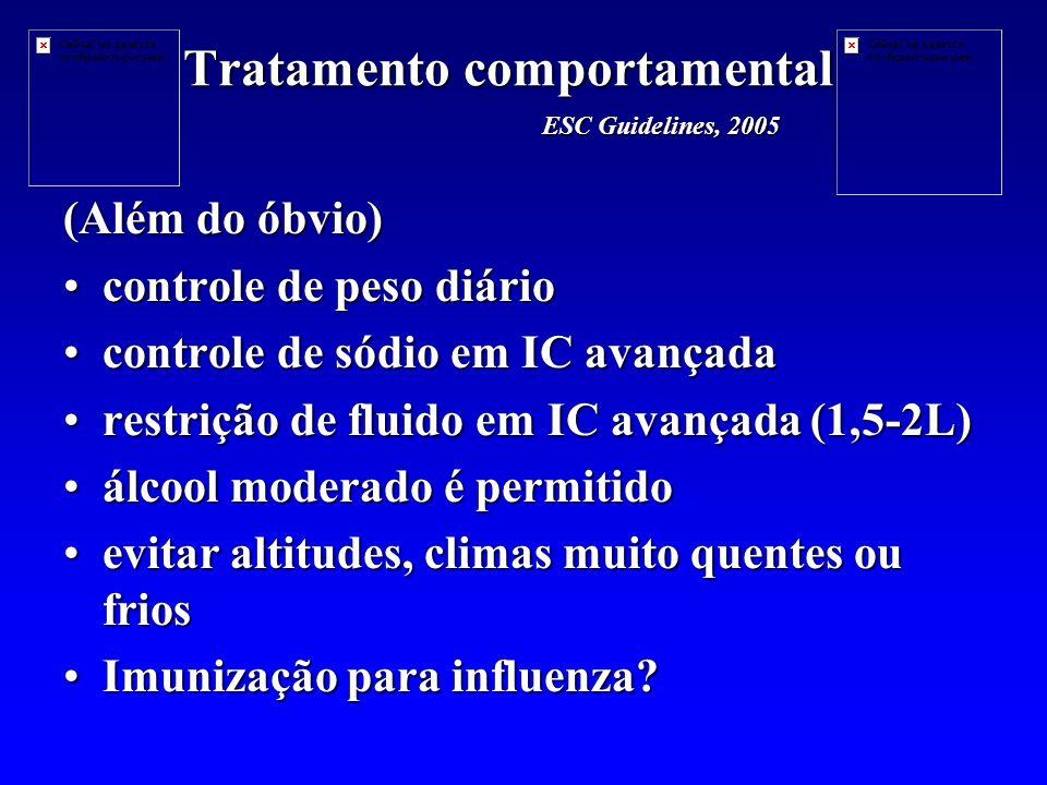 Tratamento comportamental (Além do óbvio) controle de peso diáriocontrole de peso diário controle de sódio em IC avançadacontrole de sódio em IC avançada restrição de fluido em IC avançada (1,5-2L)restrição de fluido em IC avançada (1,5-2L) álcool moderado é permitidoálcool moderado é permitido evitar altitudes, climas muito quentes ou friosevitar altitudes, climas muito quentes ou frios Imunização para influenza?Imunização para influenza.