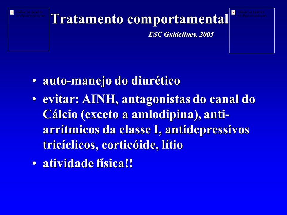 Tratamento comportamental auto-manejo do diuréticoauto-manejo do diurético evitar: AINH, antagonistas do canal do Cálcio (exceto a amlodipina), anti- arrítmicos da classe I, antidepressivos tricíclicos, corticóide, lítioevitar: AINH, antagonistas do canal do Cálcio (exceto a amlodipina), anti- arrítmicos da classe I, antidepressivos tricíclicos, corticóide, lítio atividade física!!atividade física!.