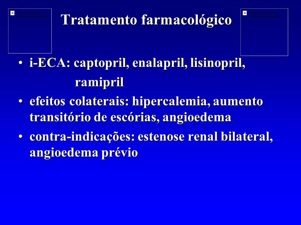 Tratamento farmacológico i-ECA: captopril, enalapril, lisinopril,i-ECA: captopril, enalapril, lisinopril, ramipril ramipril efeitos colaterais: hipercalemia, aumento transitório de escórias, angioedemaefeitos colaterais: hipercalemia, aumento transitório de escórias, angioedema contra-indicações: estenose renal bilateral, angioedema préviocontra-indicações: estenose renal bilateral, angioedema prévio