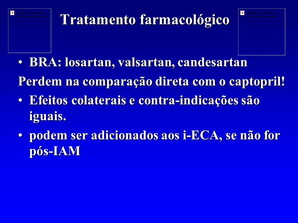 Tratamento farmacológico BRA: losartan, valsartan, candesartanBRA: losartan, valsartan, candesartan Perdem na comparação direta com o captopril.