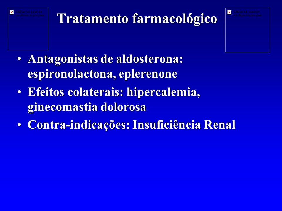 Tratamento farmacológico Antagonistas de aldosterona: espironolactona, eplerenoneAntagonistas de aldosterona: espironolactona, eplerenone Efeitos colaterais: hipercalemia, ginecomastia dolorosaEfeitos colaterais: hipercalemia, ginecomastia dolorosa Contra-indicações: Insuficiência RenalContra-indicações: Insuficiência Renal