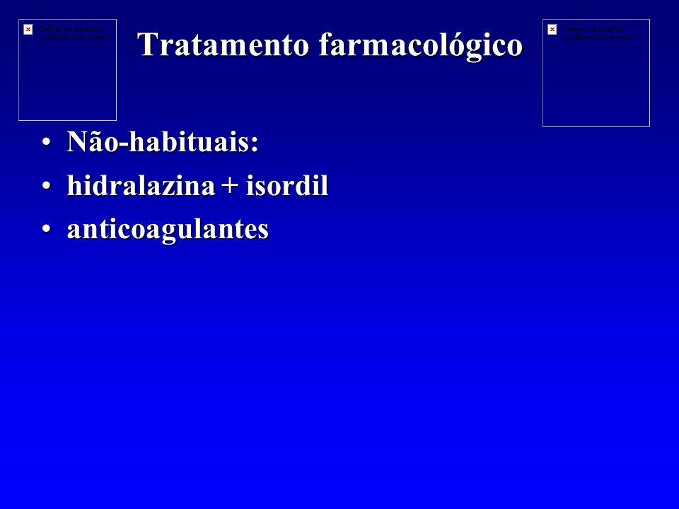 Tratamento farmacológico Não-habituais:Não-habituais: hidralazina + isordilhidralazina + isordil anticoagulantesanticoagulantes