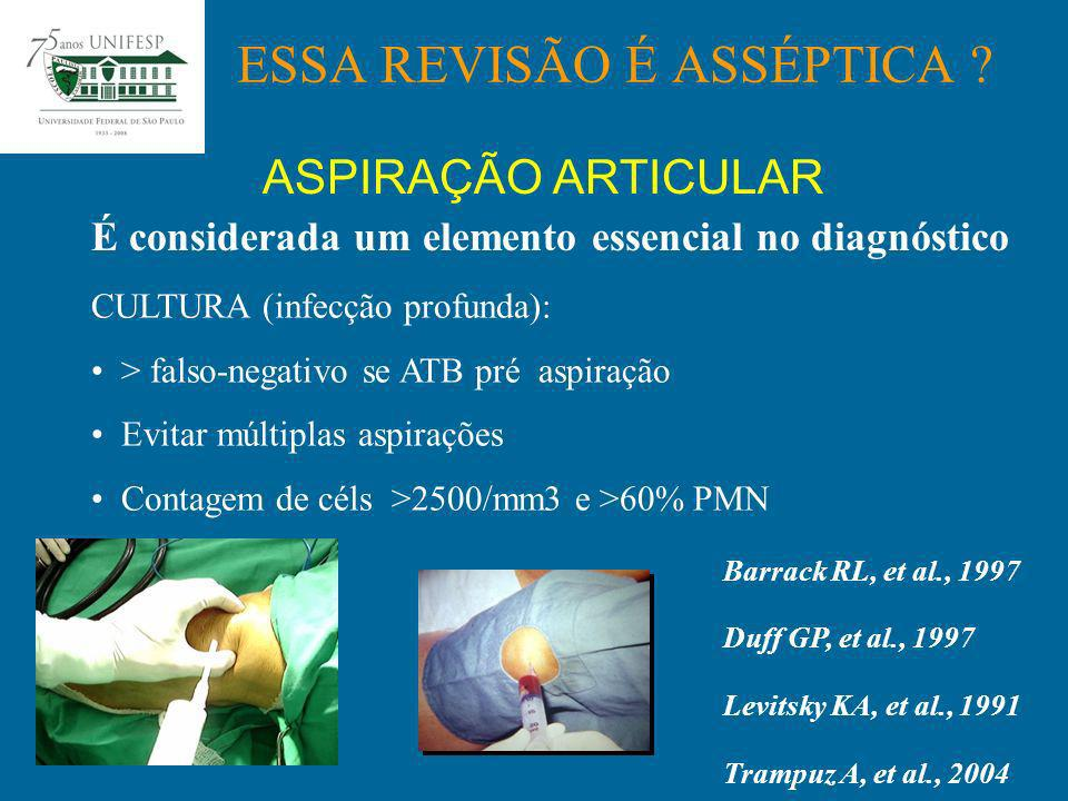 RX: AP, P, AXIAL Alinhamento Fixação Espessura poli Osteólise Slope tibial ESSA REVISÃO É ASSÉPTICA .