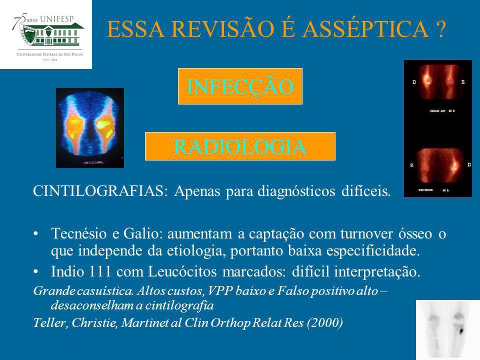 No intra-operatório caso previamente haja inconclusão diagnóstica Pode ser feito por congelação para a decisão imediata de revisão 1 ou 2 tempos ESSA REVISÃO É ASSÉPTICA .