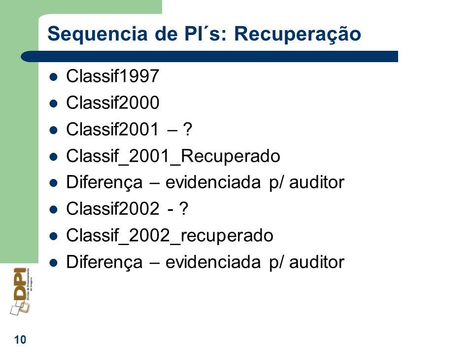 10 Sequencia de PI´s: Recuperação Classif1997 Classif2000 Classif2001 – ? Classif_2001_Recuperado Diferença – evidenciada p/ auditor Classif2002 - ? C