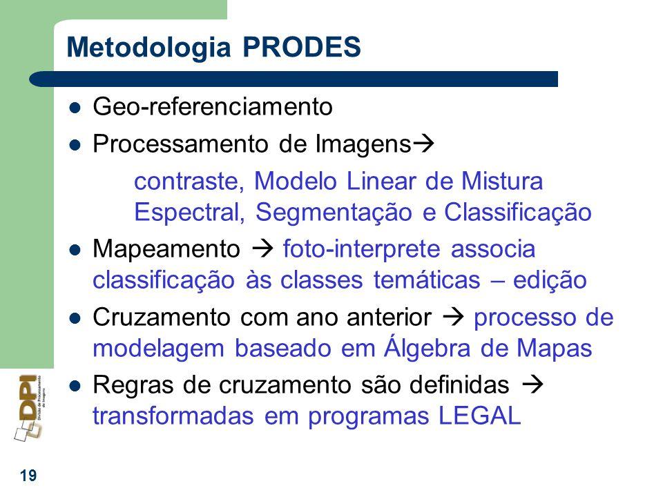 19 Metodologia PRODES Geo-referenciamento Processamento de Imagens contraste, Modelo Linear de Mistura Espectral, Segmentação e Classificação Mapeamen