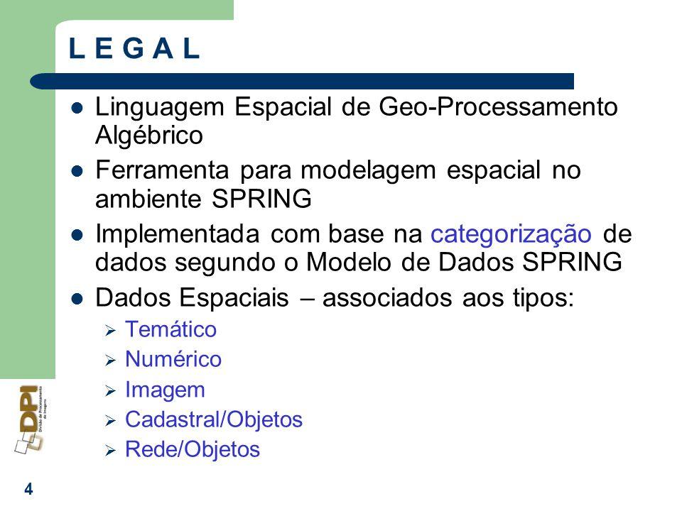 4 L E G A L Linguagem Espacial de Geo-Processamento Algébrico Ferramenta para modelagem espacial no ambiente SPRING Implementada com base na categoriz