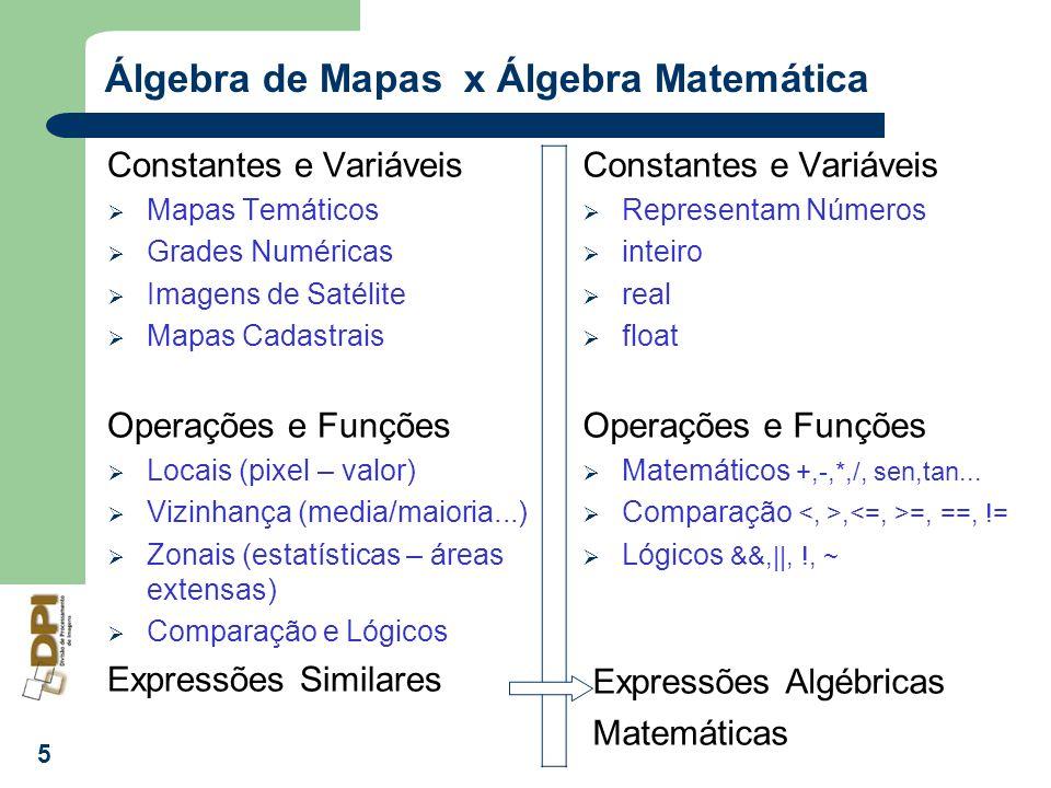 5 Álgebra de Mapas x Álgebra Matemática Constantes e Variáveis Mapas Temáticos Grades Numéricas Imagens de Satélite Mapas Cadastrais Operações e Funçõ