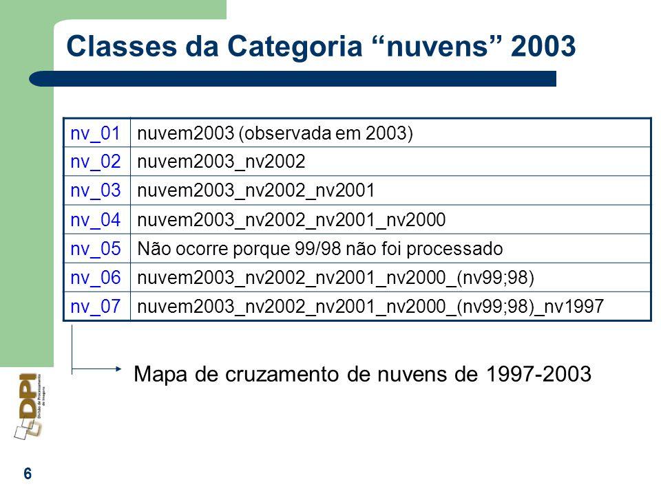 7 Categoria: Cartatema_NOVO (2004) florestaClassificacao/mapeamento nao_florestaClassificacao/mapeamento nao_floresta2Classificacao/mapeamento hidrografiaClassificacao/mapeamento nuvemClassificacao/mapeamento problemaVia legal desmatamento_totalVia legal desmatamentoClassificacao/Mapeamento dsf_nv_01Via legal –dsf sobre nuvens por 1 ano (nuvens ano anterior) dsf_nv_02Via legal –dsf sobre nuvens por 2 anos (nuvens ano anterior) dsf_nv_03Via legal –dsf sobre nuvens por 3 anos (nuvens ano anterior dsf_nv_04Via legal –dsf sobre nuvens por 4 anos (nuvens ano anterior) dsf_nv_05Via legal –dsf sobre nuvens por 5 anos (nuvens ano anterior) dsf_nv_06Via legal –dsf sobre nuvens por 6 anos (nuvens ano anterior) dsf_nv_07Via legal –dsf sobre nuvens por 7 anos (nuvens ano anterior)