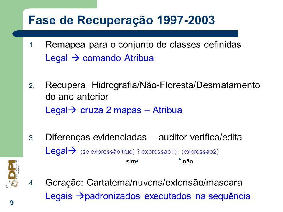 9 Fase de Recuperação 1997-2003 1. Remapea para o conjunto de classes definidas Legal comando Atribua 2. Recupera Hidrografia/Não-Floresta/Desmatament