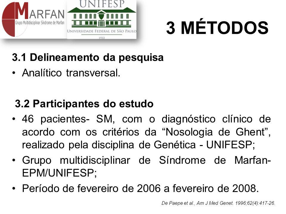 3 MÉTODOS 3.1 Delineamento da pesquisa Analítico transversal. 3.2 Participantes do estudo 46 pacientes- SM, com o diagnóstico clínico de acordo com os