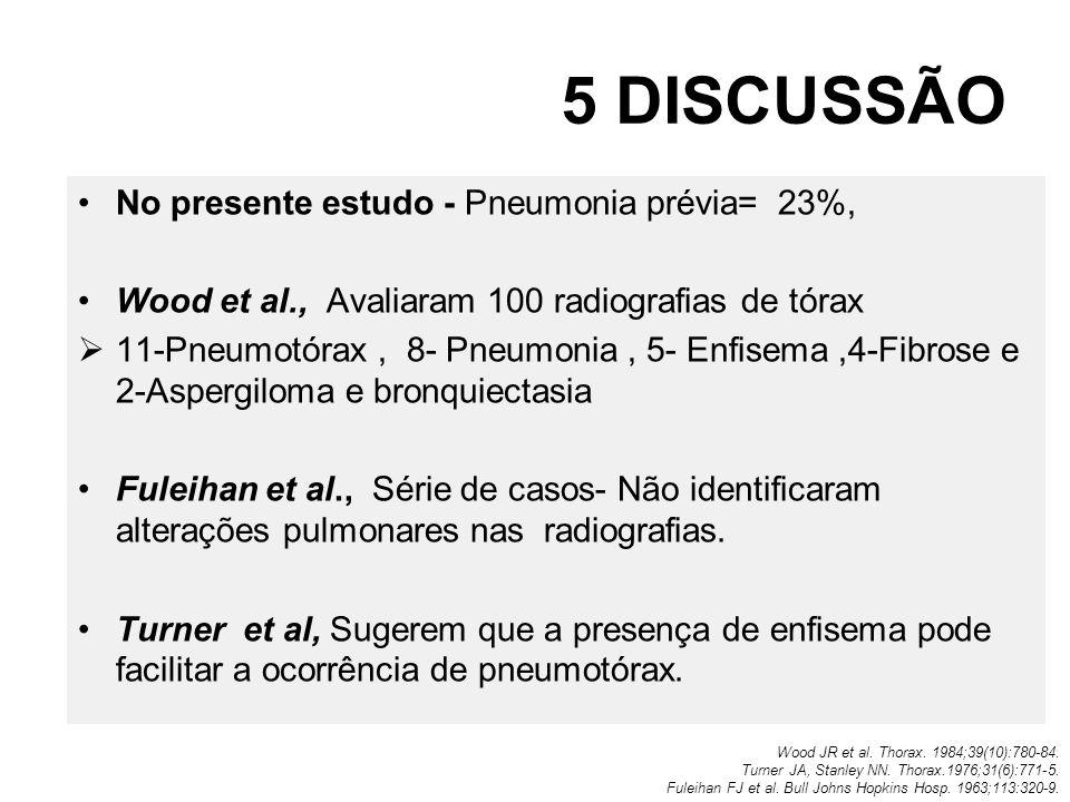 5 DISCUSSÃO No presente estudo - Pneumonia prévia= 23%, Wood et al., Avaliaram 100 radiografias de tórax 11-Pneumotórax, 8- Pneumonia, 5- Enfisema,4-F