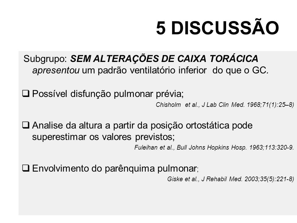5 DISCUSSÃO Subgrupo: SEM ALTERAÇÕES DE CAIXA TORÁCICA apresentou um padrão ventilatório inferior do que o GC. Possível disfunção pulmonar prévia; Chi