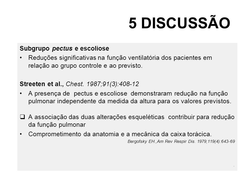 5 DISCUSSÃO Subgrupo pectus e escoliose Reduções significativas na função ventilatória dos pacientes em relação ao grupo controle e ao previsto. Stree