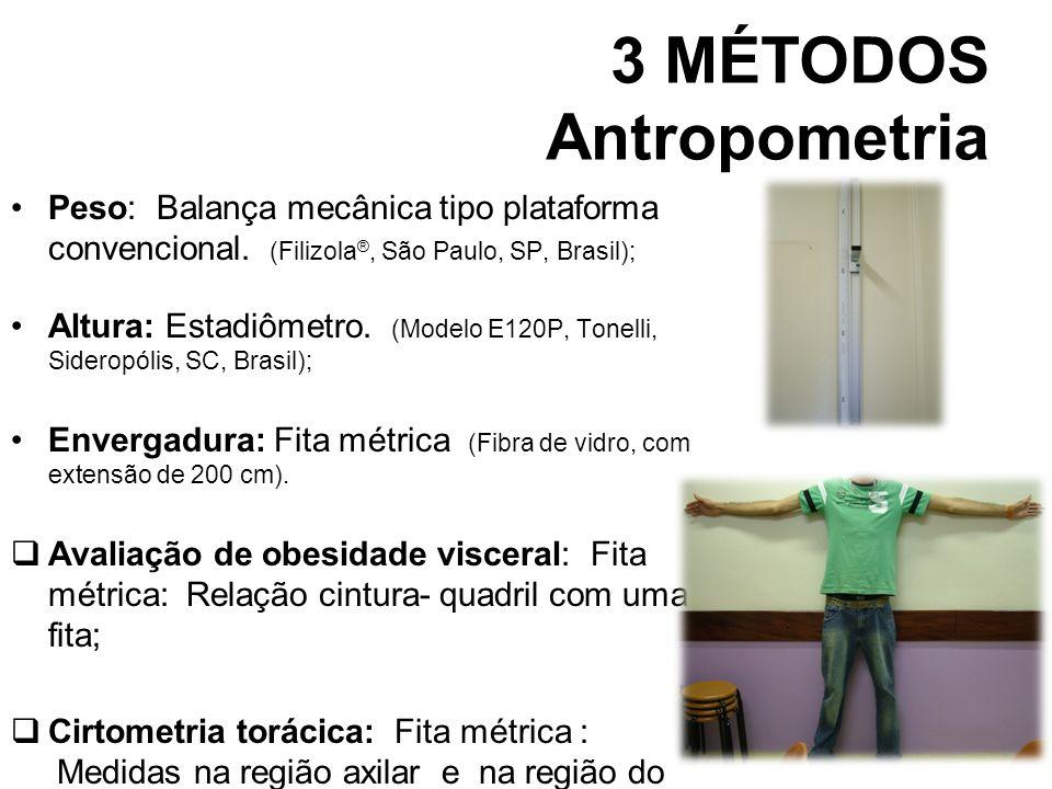 3 MÉTODOS Antropometria Peso: Balança mecânica tipo plataforma convencional. (Filizola ®, São Paulo, SP, Brasil); Altura: Estadiômetro. (Modelo E120P,