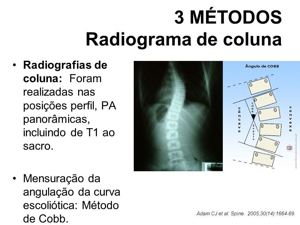 3 MÉTODOS Radiograma de coluna Radiografias de coluna: Foram realizadas nas posições perfil, PA panorâmicas, incluindo de T1 ao sacro. Mensuração da a